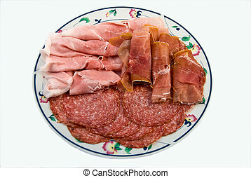 A dish of various mx sliced salami and ham A typical Italian...
