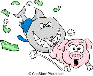 smiling financial shark is hunting a frightened piggy bank