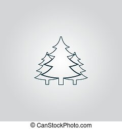 Tree, Christmas fir tree Flat web icon or sign isolated on...