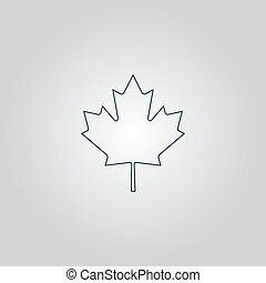 maple leaf - Simple maple leaf Flat web icon or sign...
