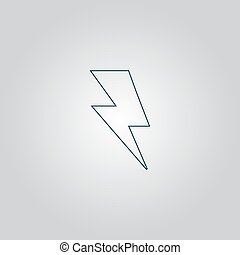 bolt icon - Simple bolt Flat web icon or sign isolated on...