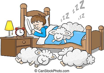 sheep fall asleep on the bed of a sleeping man