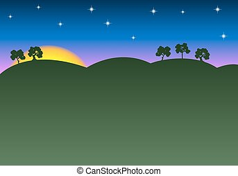 sunrise sunset landscape as a background with copy space -...