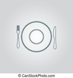 Plate dish with fork and knife