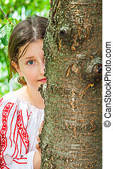 10 year old girl - Portrait of a 10 year old girl wearing a...