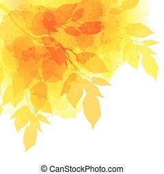 Fall leafs watercolor vector background
