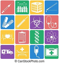 Vector illustration of medical icons on white background...