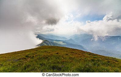 Misty dreamy landscape. The Deep misty valley