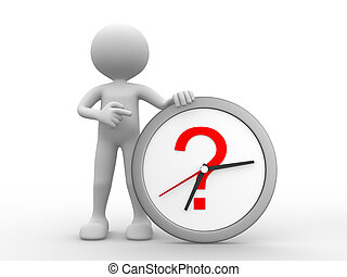 Clock - 3d people - man, person with a clock and a question...