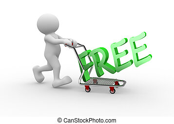 Free - 3d people - man, person with a shopping car.Free...
