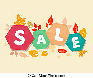 autumn sale with leaves, grunge drawn hexagons labels -...