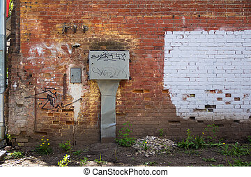 Red brick wall - Photo of old red brick gritty wall