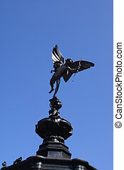 Eros sculpture of a fountain in UK - Silhouette of the...