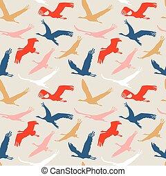 Seamless pattern of flying birds.