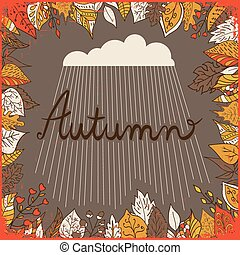 Autumn floral background with leaves, text autumn and cloud...