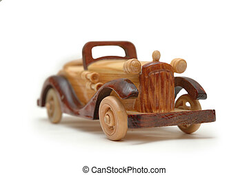 Wooden retro car model isolated on white