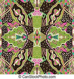 Traditional ornamental paisley band - Seamless pattern can...