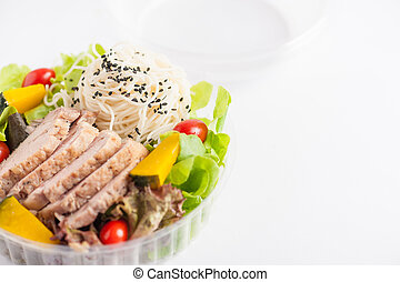 Clean food lunch box - Salad with roasted pork and soba...