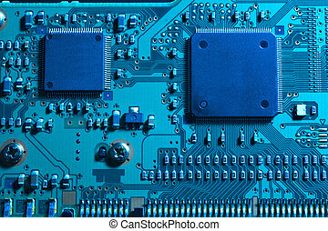 Blue computer substrate - Blue lighting of two IC mounted on...