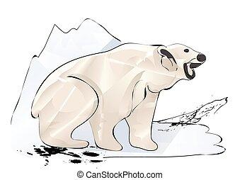 polar bear and ice