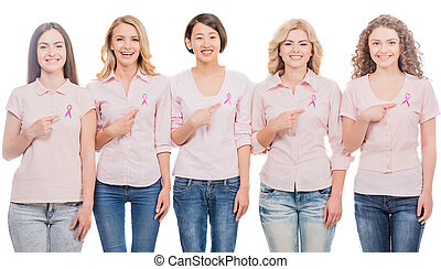 Breast cancer - Voluntary cheerful women wearing pink...