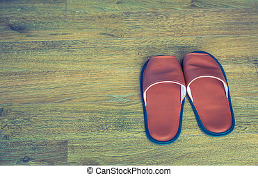 Slippers on the floor ( Filtered image processed vintage...