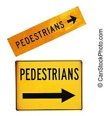 pedestrians road signs closeup on white