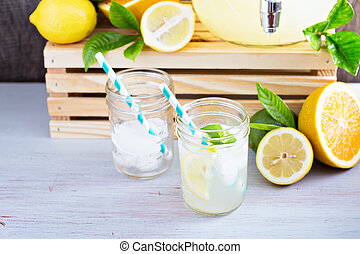 Homemade lemonade in mason jars - Homemade lemonade in...