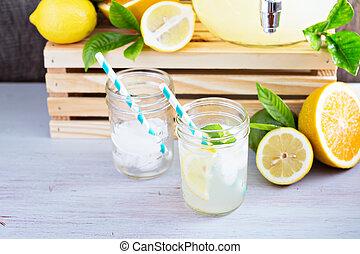 Homemade lemonade in mason jars - Homemade lemonade in...
