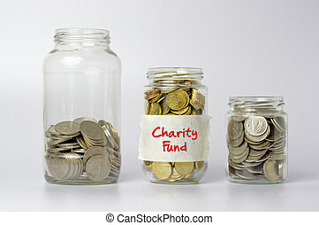 Coins in The Three Different Size of Jar - Financial Concept