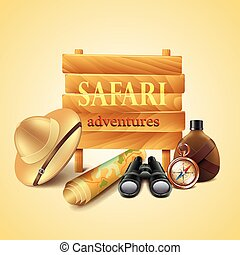 Safari travel accessories vector
