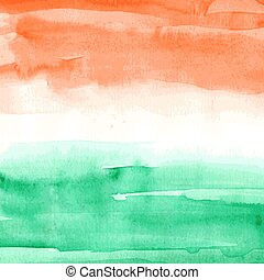 Indian Flag. Watercolor texture