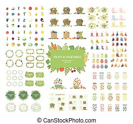 Vector vegan set of food objects - Collection of fruits,...