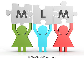 MLM - Multi Level Marketing puzzle in a line image with...
