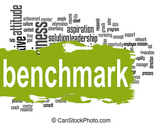 Benchmark word cloud with green banner image with hi-res...