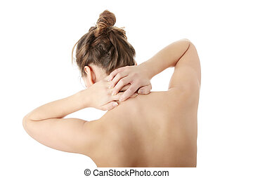 Neck pain - Nude woman with neck pain , isolated on white...