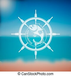 Label marine theme hand drawing - perfect addition to...