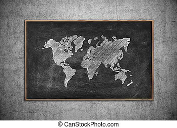 board with drawing world map