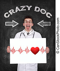 pulse and heart - crazy doctor holding poster with pulse and...