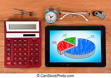 tablet pc with pie chart
