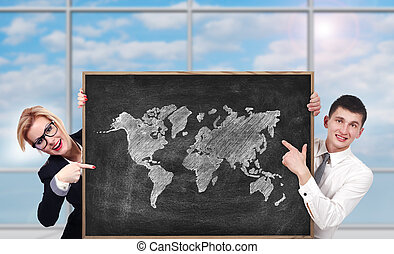board with world map