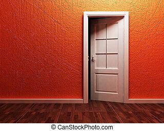 White opened door in the empty room