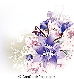 Floral clear background  blue bells flowers.eps