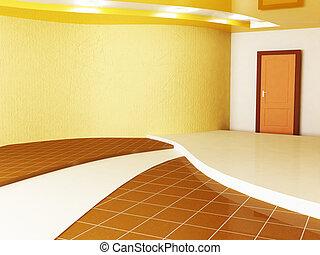 empty room with a door
