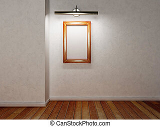wooden frame and a lamp