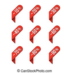 Discount labels Vector - Red discount labels with shadow...