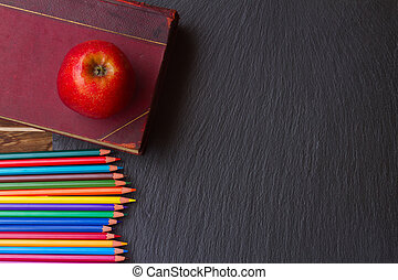Set of colorful pencils on black board - Set of colorful...