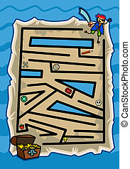 Treasure Map Pirate Maze Game - A boys puzzle maze game on...
