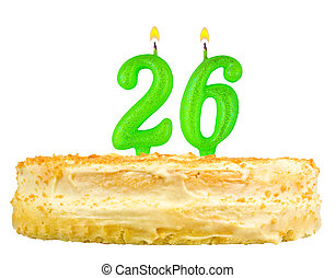 birthday cake with candles number twenty six isolated on...