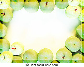 many green apples, can be used as a frame